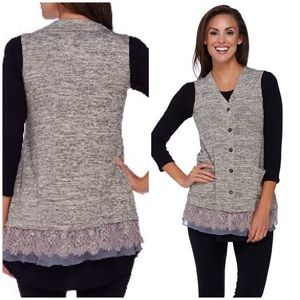 EUC LOGO by Lori Goldstein Lace Chiffon Knit Vest